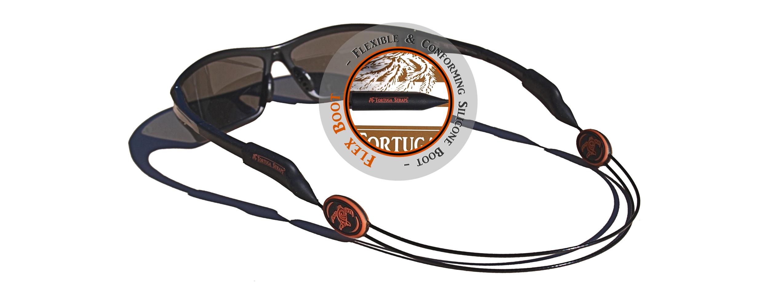 Tortuga Straps LINEZ Orange on Black Adjustable Sunglass Straps